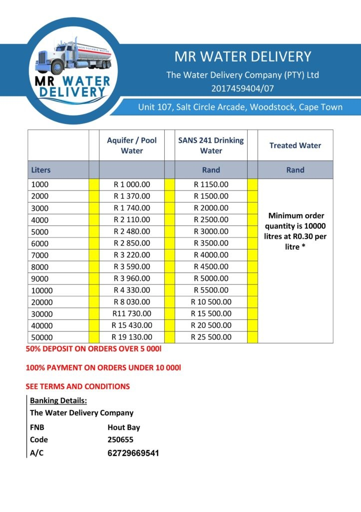 Mr Water Delivery-Pricing for water